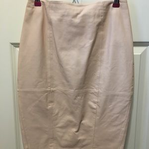 Pale pink leather skirt
